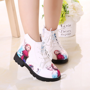 Image 1 - Winter Girl Shoes Ice And Snow Princess Shoes Short Boots Baby Shoe Cartoon Children Snowfield Leather Martin Boots Child Shoes