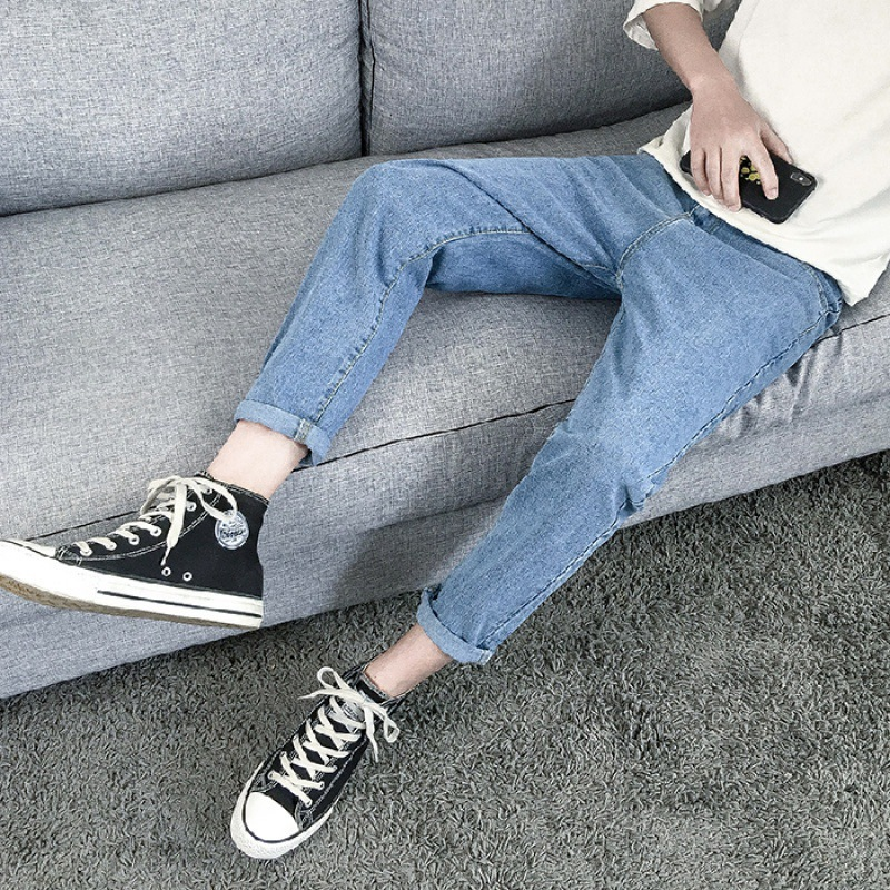 Summer Capri Jeans Men's Loose-Fit Wide-Leg Korean-style Trend Men With Holes Straight-Cut Dad Pants Popular Brand