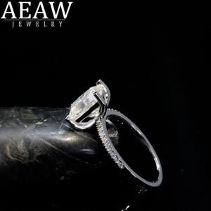 AEAW 1.0 promieniowania Cut Moissanite pierścionek zaręczynowy 14K białe złoto Moissanite pierścionek zaręczynowy/pierścień przyrzeczenia/pierścionek jubileuszowy