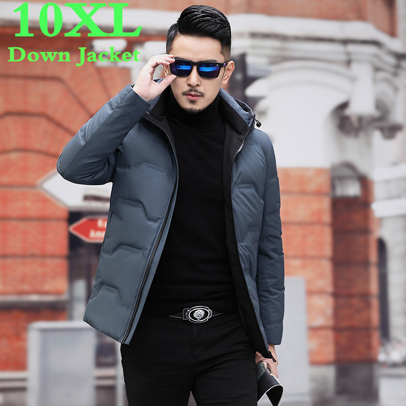 Plus Size 10XL 9XL New Winter Down Jacket Men's Zipper And Hat Casual Clothes Medium-and-Long Coat Suit