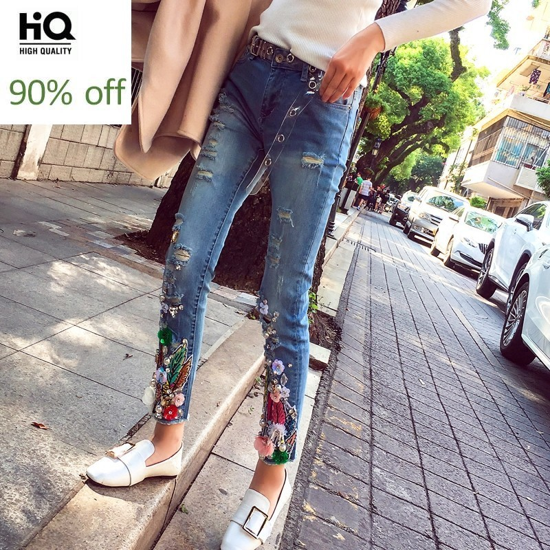 2020 Luxury New Beading Jeans Woman Embroidery Flower Ankle-Length Ripped Pencil Pants Office Lady Street Stretch Denim Trouser