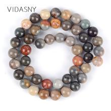 Natural Minerals Stone Beads America Picasso Jaspers Round Loose Beads For Jewelry Making Diy Bracelet Necklace 4-12mm 15inch цена 2017