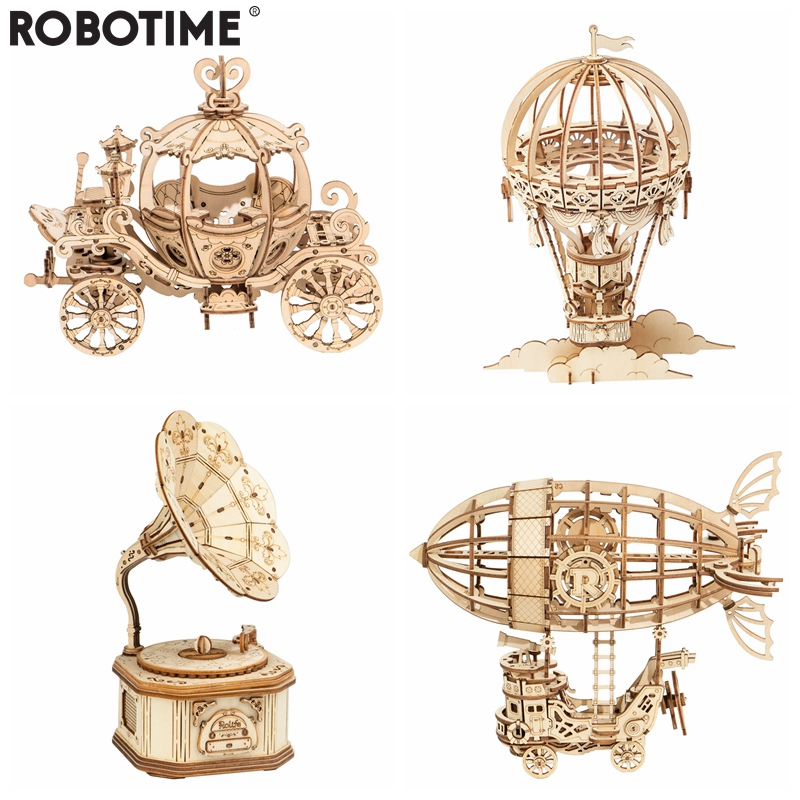 Robotime New Arrival DIY 3D Gramophone Box,Pumpkin Cart Wooden Puzzle Game Assembly Popular Toy Gift For Children Adult TG408