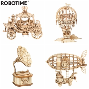 Image 1 - Robotime New Arrival DIY 3D Gramophone Box,Pumpkin Cart Wooden Puzzle Game Assembly Popular Toy Gift for Children Adult TG408