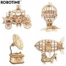 Robotime nouveauté bricolage 3D Gramophone boîte, citrouille chariot en bois Puzzle jeu assemblée populaire jouet cadeau pour enfants adulte TG408