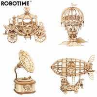 Robotime nueva llegada DIY 3D caja de gramófono, carro de calabaza rompecabezas de madera juego de ensamblaje Popular juguete regalo para niños adultos TG408