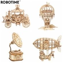 Robotime وصول جديد لتقوم بها بنفسك ثلاثية الأبعاد صندوق غرامافون ، عربة اليقطين خشبية لغز لعبة الجمعية شعبية لعبة هدية للأطفال الكبار TG408