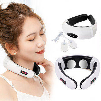 Electric Pulse Back And Neck Massager Far Infrared Heating Therapy Pain Cervical Massage Collar Health Care Relax Acupuncture