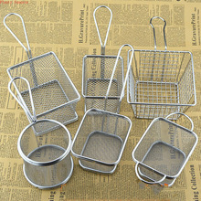 22 sizes Fryer Basket Screen French Fries Frame Square Filter Net Encrypt Colander Strainer Shaped Frying Stainless Steel Meshed