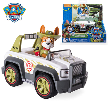 Paw Patrol Jungle Rescue Tracker's Jungle Cruiser Vehicle & Figure Model Marshall Chase Rubble Vehicle Set Toy Car Children Gift