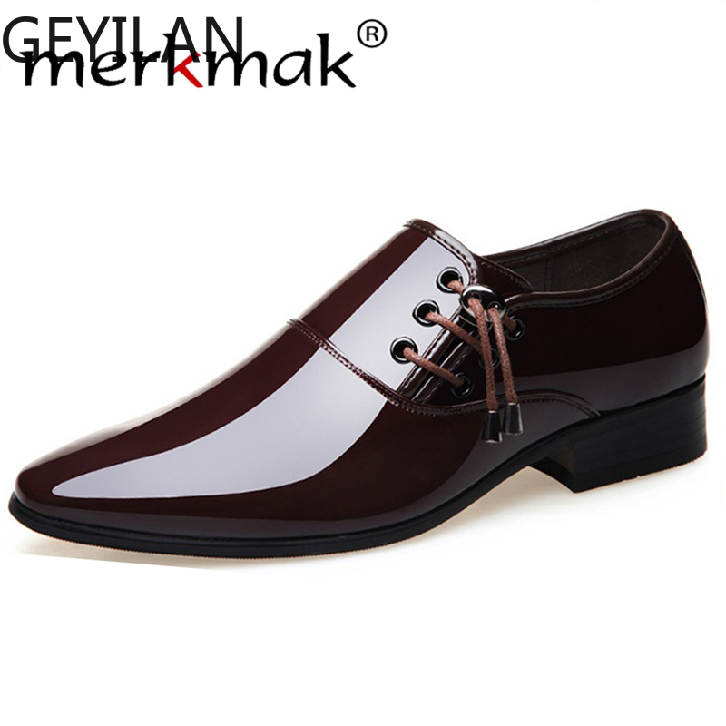 merkmak 2020 Business Dress Shoes Men Formal Wedding Footwear Pointed Toe Fashion PU Leather Shoes Flats Oxford Shoes For Men