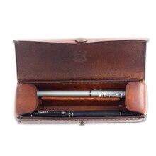 Classic genuine cowhide Leather Pen Bag Pencil Pouch 2-slot vintage retro Leather Pen Case For Travel School office supplies