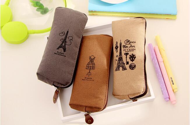 1pcs/lot Eiffel Tower French Style Pencil Case Material Escolar Personal Office Estojo Escolar Stationery Cases Zipper Bag