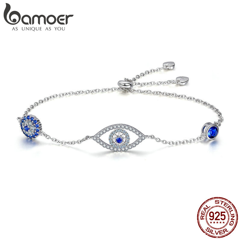 BAMOER Hot Sale 100% 925 Sterling Silver Blue Eyes Link Women Bracelets for Women Sterling Silver Jewelry Making Gift SCB089