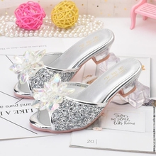 Disney new Elsa Shoes For Girls Cartoon Leather Children Shoes Frozen Princess Kids Shoes Girl Slippers Dress Snow Queen Sandal
