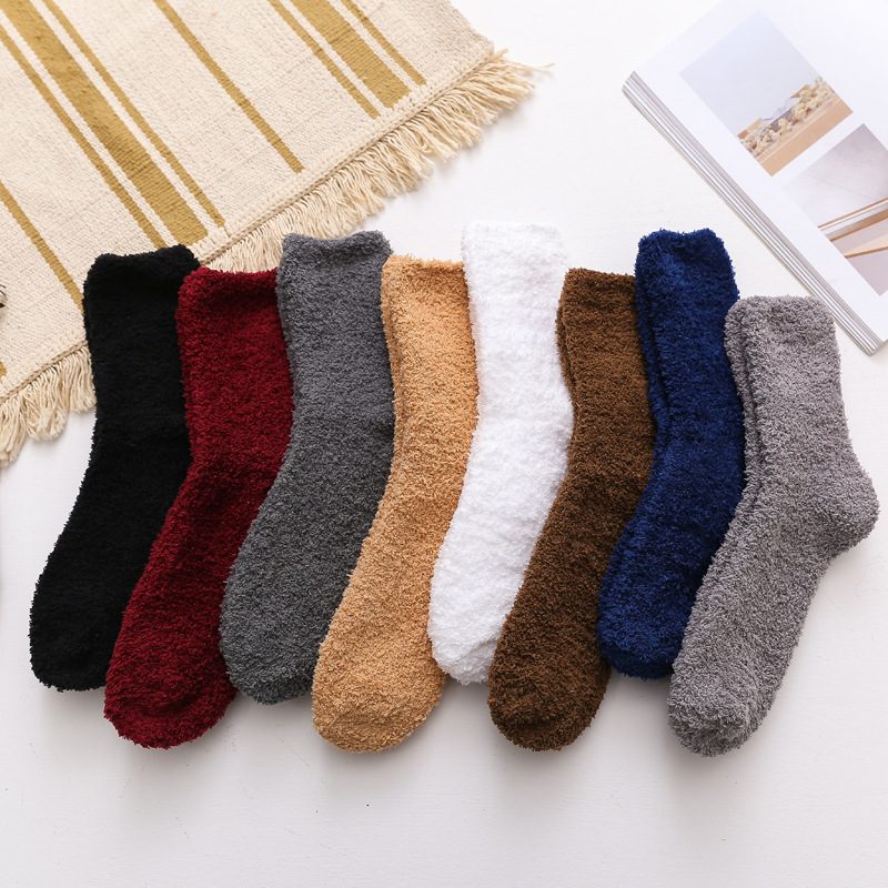 Solid Soft Men Fluffy Socks Coral Velvet Winter Warm Home Indoor Floor Girls Terry Towel Fuzzy Socks 1 Pair