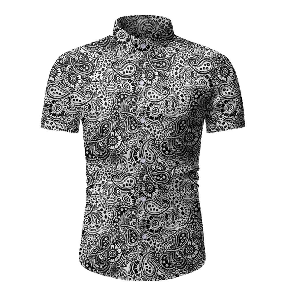 MISSKY Men Shirt Summer Beach Shirt Hawaii Paisley Printing Lapel Short Sleeve Male Casual Shirt Male Tops 2020 New