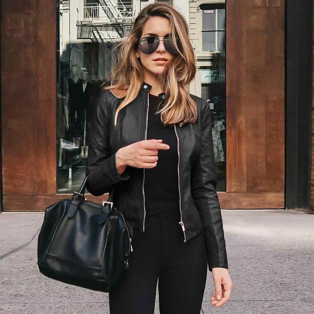 Jean Jacke frauen Mäntel 2020 Herbst Casual Verzierte Zip Lange-Sleeve Leder Jacke Frauen Mäntel Weibliche outwear Denim feminine
