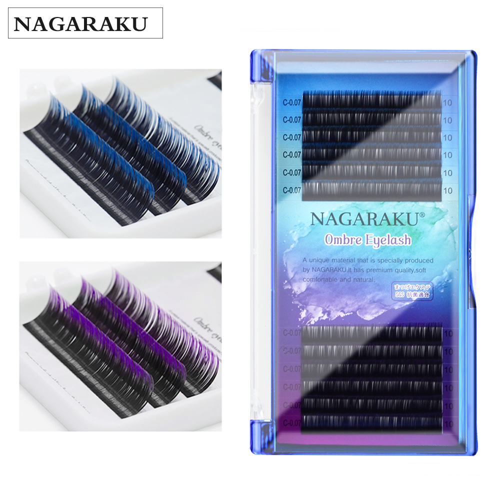 NAGARAKU Eyelashes Makeup Mink Lashes Ombre Color Purple Blue Gradient Color Eyelash Extension Premium Faux Cils Soft Mink