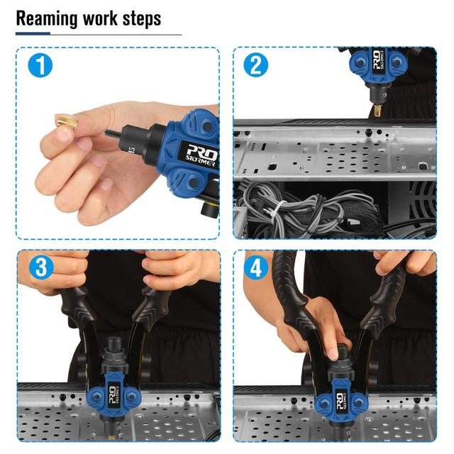 3 in 1 Hand Rivet Nut Guns Riveter of Sleeve Nuts Threaded Rivet Tool for Auto M3/4/5/6/8/10 Multi Reaming by PROSTORMER 4