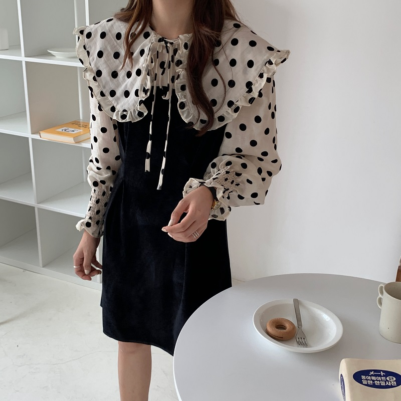 H4aefb91d3ef340fa8d66c6a4a821c40d8 - Autumn / Winter Puritan Collar Long Sleeves Velvet Stitching Dress