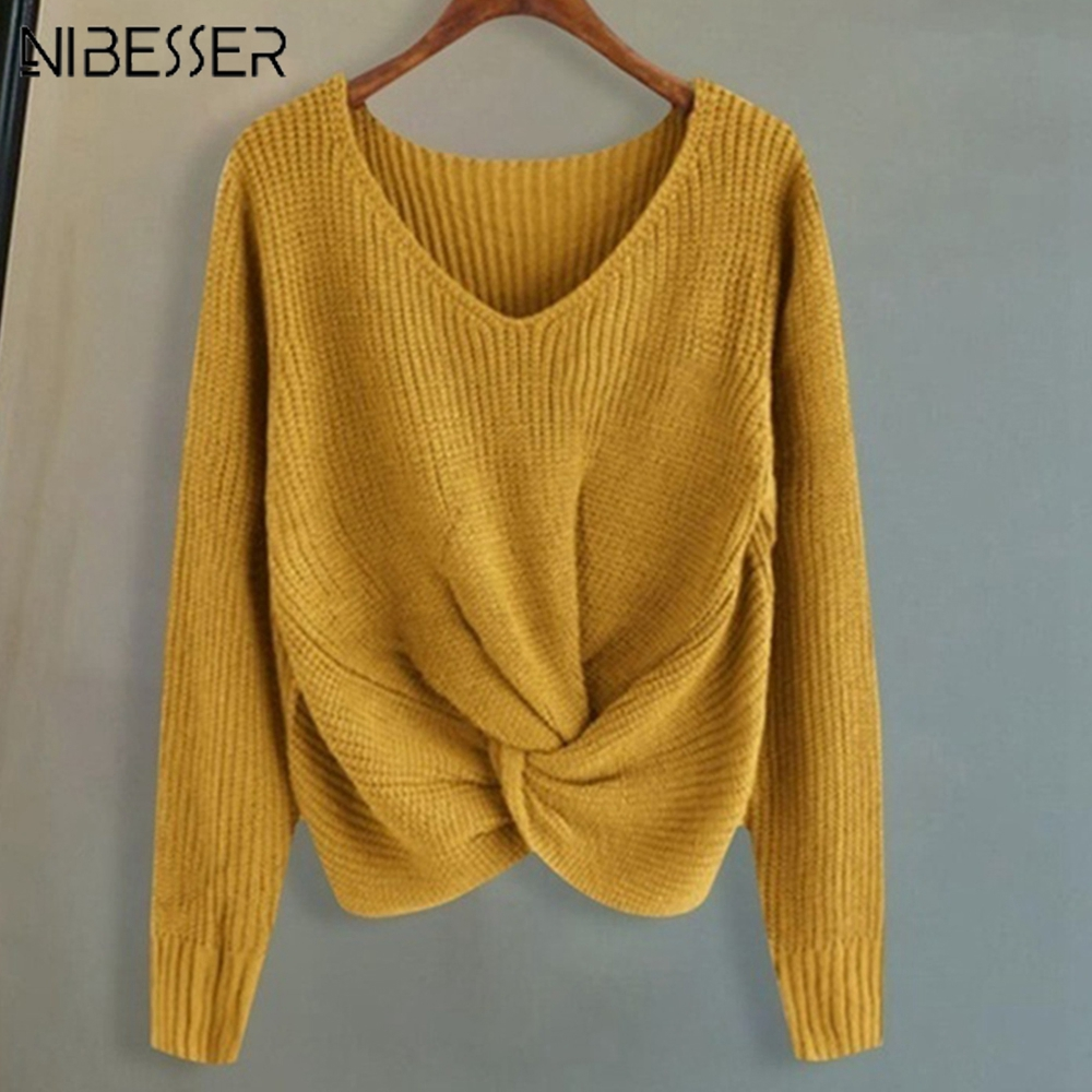 NIBESSER 2019 Autumn Winter Femme Sweaters Long Sleeve Solid Color V-neck Sexy Cross Knotted Panel Sweater Female Oversized  Top