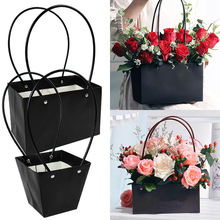 Portable Flower Box Waterproof Paper Handy Gift Bag Kraft Handbag Wedding Rose Party Gift Box Packaging For Candy Cake Birthday