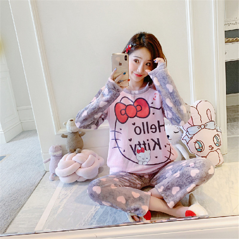 Women Cute Pink Hello Kitty Cat Coral Velvet Pajama Set Winter 2 Pcs Thick Soft Sleepwear Warmness Fashion Pijama Home Suit