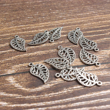 Manufacturers Direct Sale Jewelry Accessories Alloy Small pendants Leaves Hollow Silver 18MM 69PCS have stock