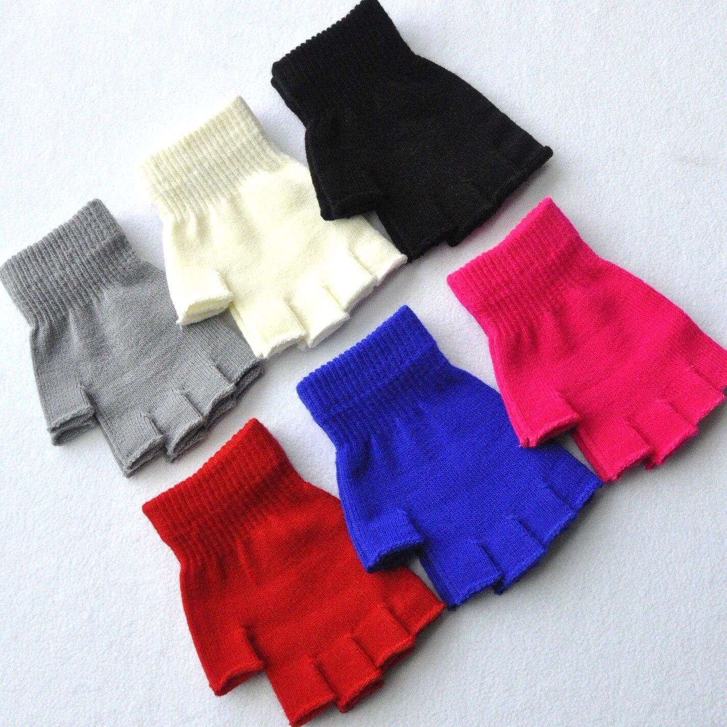 Women Men Fingerless Gloves Solid Color Half Finger Knitted Mittens 2019 Winter Soft Warmer Unisex Basic Female Gloves Guantes