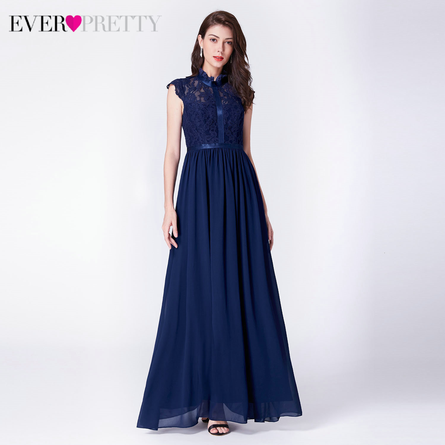 Elegant Navy Blue Evening Dresses Long Ever Pretty EP07379NB A-Line O-Neck Sleeveless Lace Evening Party Gowns Abendkleider 2019