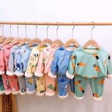 Children Pajamas Sleepwear Kids Girls Winter Family Cartoon Boys Velvet Casual Autumn