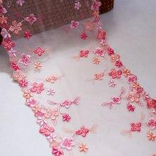 1 метр 17,5 см Ширина маленькие цветы вышитые кружева отделка розовый тюль ткань для нижнего белья нижнее белье бюстгальтер Кукольное платье ...