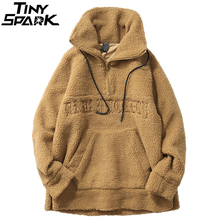 Hip Hop Lamb Wool Jacket Men Gothic Letter Embroidery Jackets Coat Fleece Autumn Winter 2019 Half Zip Jacket Streetwear Retro