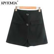 KPYTOMOA Women 2020 Chic Fashion Double Button Shorts Skirts Vintage High Waist Office Wear Female Skort Mujer