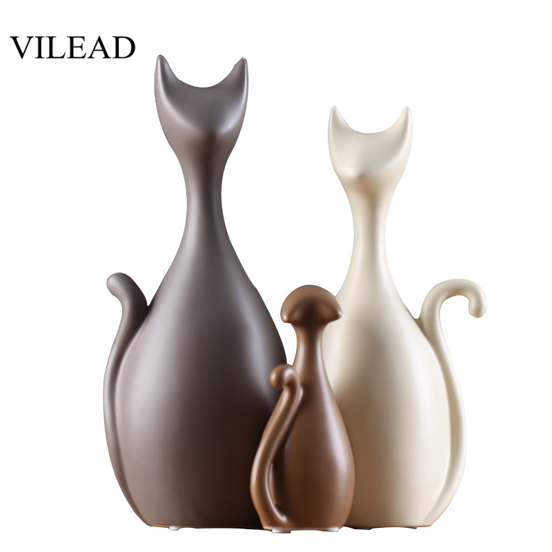 VILEAD Ceramic Family of Three Four Cats Figurines Nordic Animal Living Room Decoration Home Ornaments Crafts For Wedding Gifts(China)