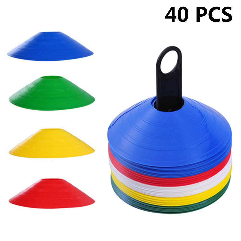 40pcs/set Outdoor Soccer Cones Disc Field Cone Markers Training Agility Sports Sign Dish Football Soccer Training Tools