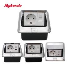 купить EU Standard Floor Socket square shape Pop Up Outlet Box with rj45 net/phone/USB connector aluminium alloy panel Makerele по цене 1117.65 рублей