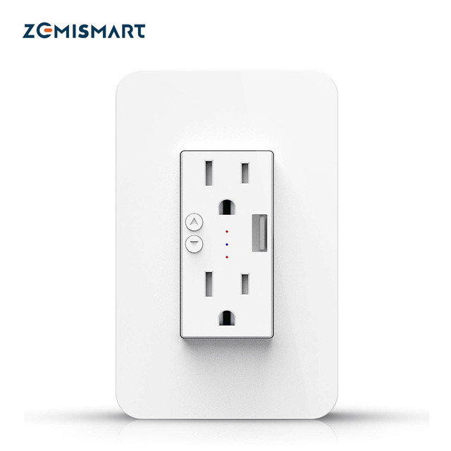 $ US $19.83 Zemismart Tuya US Wall Outlet 15A With USB Port Smart Life WiFi Control Alexa Google Home Voice Control Socket