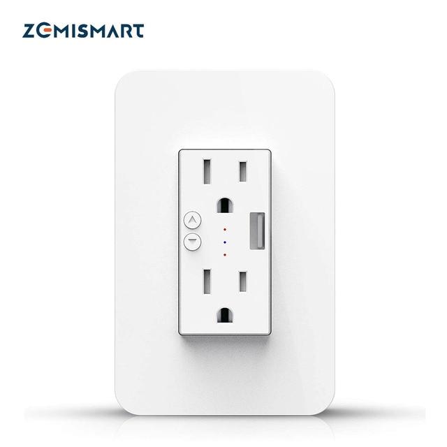 $ US $19.83 Zemismart Tuya US Wall Outlet 15A With USB Port Smart Life WiFi Control Alexa Google Home Voice Control Socket