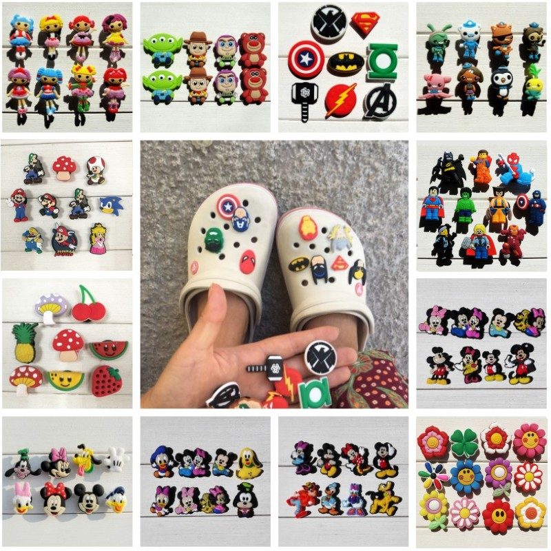 6-24pcs/lot Avengers Mickey PVC Shoe Charms Shoe Accessories Buckles Christmas Decoration Fit Bracelet Croc JIBZ Xmas Gift