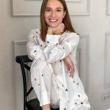 HECHAN aşk kalp desen bayan pijama beyaz uzun kollu cep baskı pantolon saten pijama Set kıyafeti rahat ev takım elbise setleri