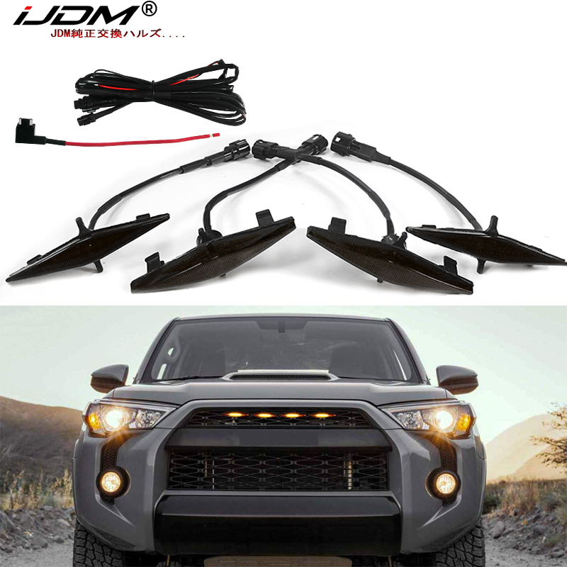 iJDM 4pc Set Smoked Lens Amber white Front Grille Lighting Kit For 2014-2019 <font><b>Toyota</b></font> <font><b>4Runner</b></font> TRD Pro Grille , Includes 12V image