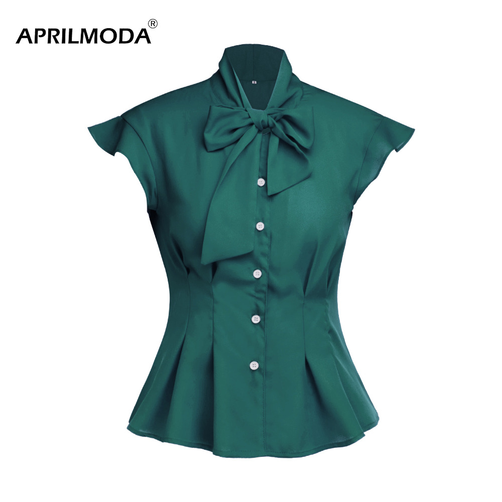 Elegant Summer Women Blouses Chiffon Short Butterfly Sleeve Bodycon Work Shirts Blusas with Bow 2020 Office Ladies Work Wear