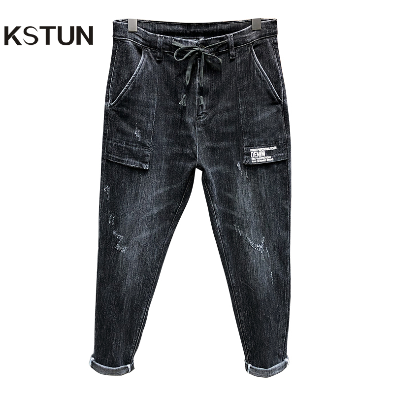 Cargo Jeans Men 2019 Autumn Gray Stretch Square Big Pockets Loose Fit Drawstring Waist And Baggy Legs Streetwear Men's Jeans