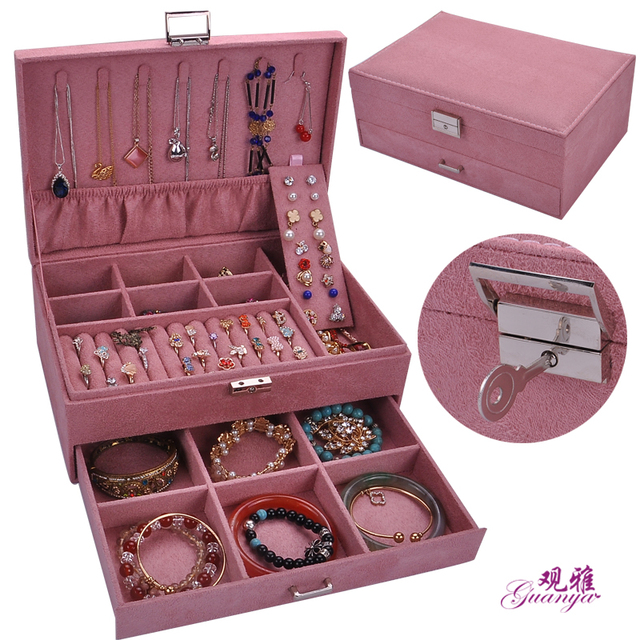 European style double layer large capacity elegant flannel jewelry box with lock Fashion leader velvet jewelry