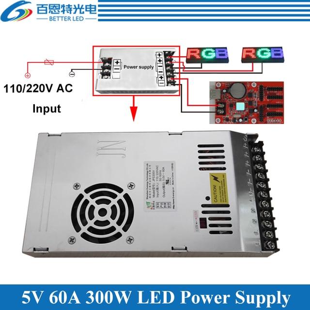 Fuente de alimentación de pantalla LED especial con ventilador ultradelgada entrada 110/220VAC, fuente de alimentación conmutada de salida de 5V 60A 300W