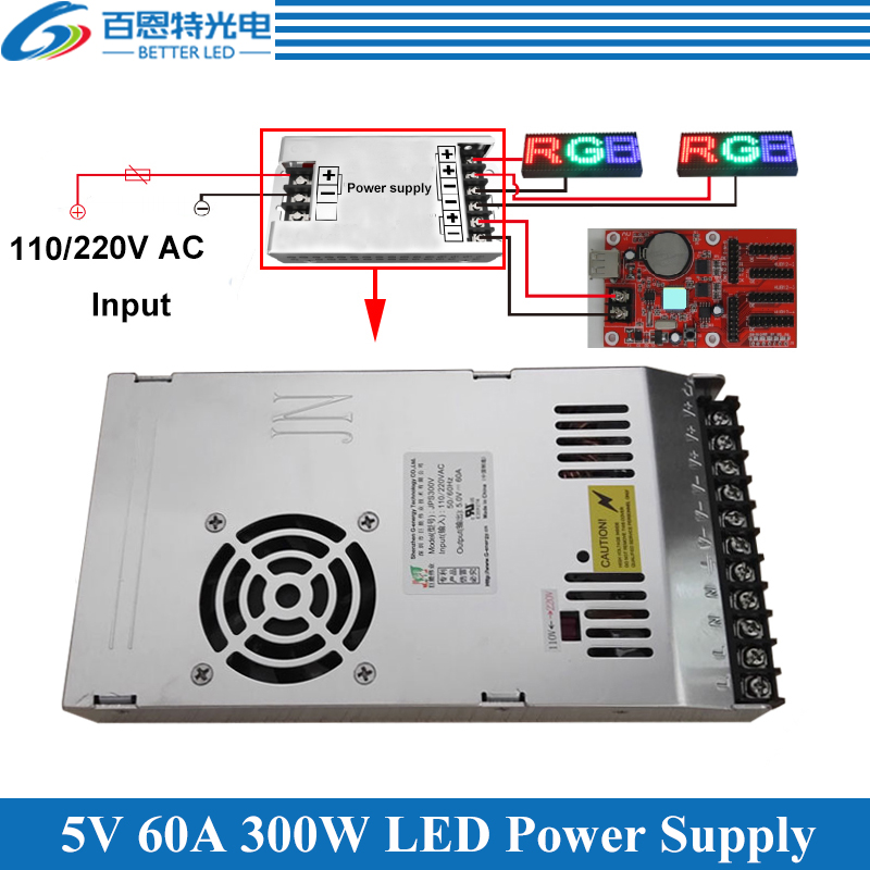 Special LED Display Power Supply With Fan Ultra-thin 110/220VAC Input, 5V 60A 300W Output Switching Power Supply