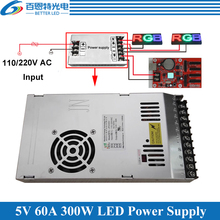 Special LED display power supply With Fan Ultra thin 110/220VAC Input, 5V 60A 300W Output Switching Power Supply