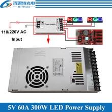 Özel LED ekran Fan ile güç kaynağı Ultra ince 110/220VAC giriş, 5V 60A 300W çıkış anahtarlama güç kaynağı